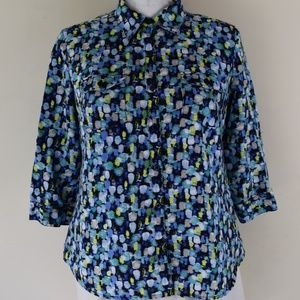 Kim Rogers Size Large Roll Sleeve Button Up Shirt